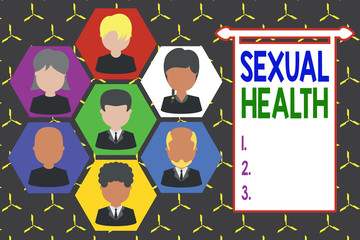 Conceptual hand writing showing Sexual Health. Concept meaning positive and respectful approach to sexual relationships Picture frames CEO and staff Organization employee structure