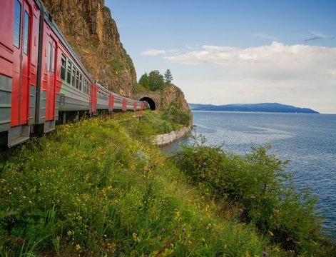 The train enters the tunnel on the Circum-Baikal Railway