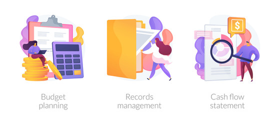Money savings estimation, files organization system, financial report icons set. Budget planning, records management, cash flow statement metaphors. Vector isolated concept metaphor illustrations - fototapety na wymiar