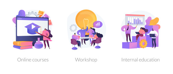 Internet video seminar, business school graduation, corporate training classes icons set. Online courses, workshop, internal education metaphors. Vector isolated concept metaphor illustrations
