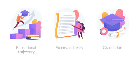 Personal growth, knowledge check, academic certificate obtaining icons set. Educational trajectory, exams and tests, graduation metaphors. Vector isolated concept metaphor illustrations