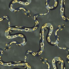 Dark Snake. Seamless pattern. Watercolor for Halloween design