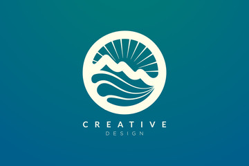 Logo design of combined circle, mountain and sun object. Minimalist and modern vector design for your business brand or product.