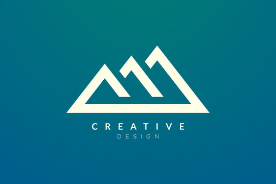 Triangle shaped mountain logo design. Minimalist and modern vector design for your business brand or product.