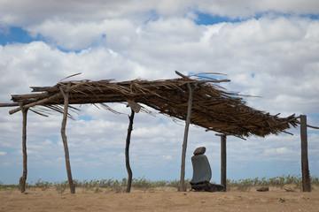 Cabana de Palha na praia de Galinhos, Rio Grande do Norte. Nordeste Brasileiro. Costa Norte do estado do Rio Grande do Norte. Wall mural