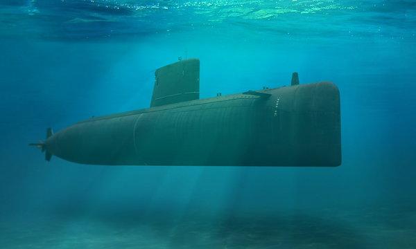 Naval submarine submerge deep underwater near to ocean floor