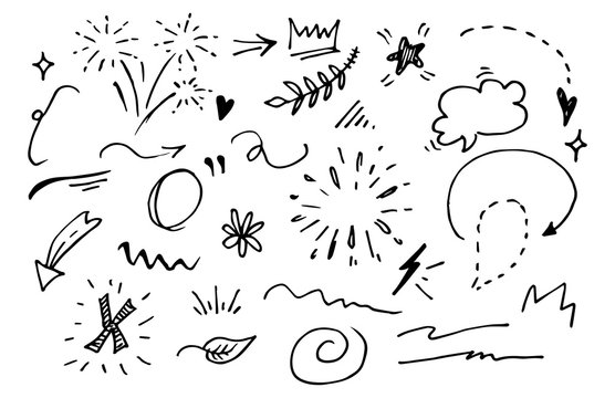 Vector hand drawn collection of design element. curly swishes, swoops, swirl, arrow, heart, love, crown, flower, star, firework, highlight text and emphasis element. use for concept design