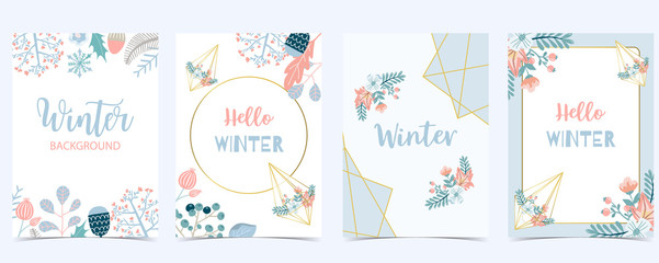 Collection of winter background set with leaves,flower,leaves,frame.Editable vector illustration for birthday invitation,postcard and website banner
