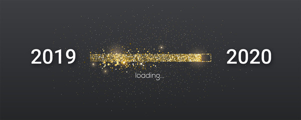 Golden loading bar with transition from 2019 to 2020 new year. Golden glittering dust on black background. Happy New Year card with progress bar. Vector illustration EPS10 Fototapete