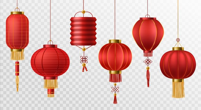 Chinese lanterns. Japanese asian new year red lamps festival 3d chinatown traditional realistic element vector set