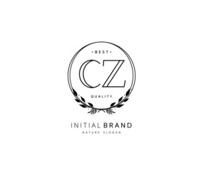 Fototapeta C Z CZ Beauty vector initial logo, handwriting logo of initial signature, wedding, fashion, jewerly, boutique, floral and botanical with creative template for any company or business. obraz