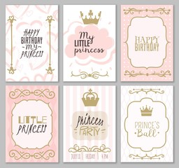 Princess borders. Cute girl party invitation shower or sweet frames for elegant decor of card vector templates