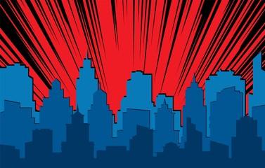 Fototapeta Comic cityscape. Retro urban silhouette of city buildings for art book comics with light effects vector scene background obraz
