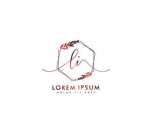 Fototapeta Initial letter LI beauty handwriting logo vector obraz