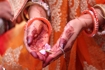 close up of beautiful bride hands