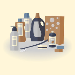 Cute household goods for cleaning: detergent, brush, cloth,  soap, washing powder and sponge for cleaning house, office, restaurant, hotel on light background. Vector flat illustration