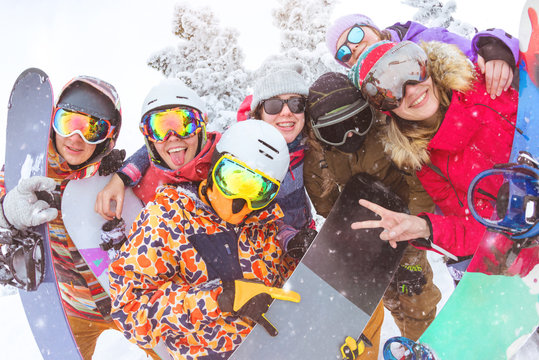 Big group of friends at ski resort