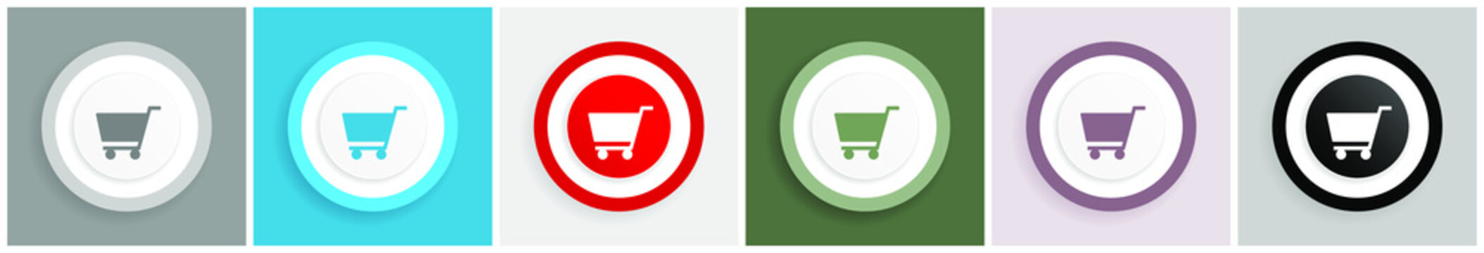 Cart icon set, colorful flat design vector illustrations in 6 options for web design and mobile applications
