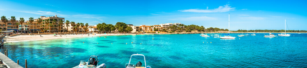 Summer beach holiday at coast of Colonia de Sant Jordi beach on Majorca island, Spain Mediterranean Sea
