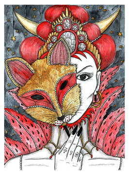 Beautiful woman with masque of fox.