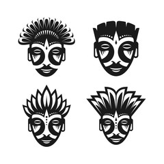 Ancient Tribal Mask, Silhouette Symbol in 4 design options