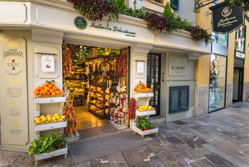 Majorca, Spain - January 13, 2019: Mallorca Delicatessen gourmet food store shop at historic city center of Palma de Majorca, Spain Balearic Islands