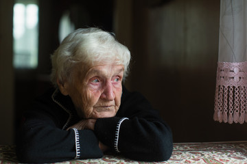 Portrait of sad elderly woman in the his house.