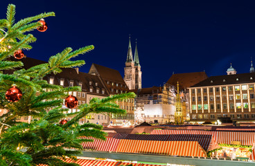 Nuremberg, Germany - December 2018: View of christmas market, famous landmark of Nuremberg, Franconia, Bavaria