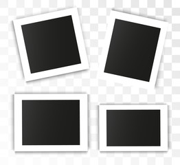 Realistic vector photo frame on a transparent background. Set of photos for illustration.