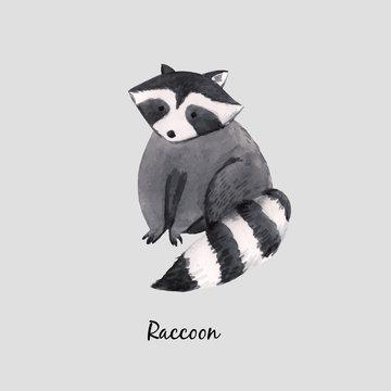 Cute vector watercolor baby raccoon illustration for children print