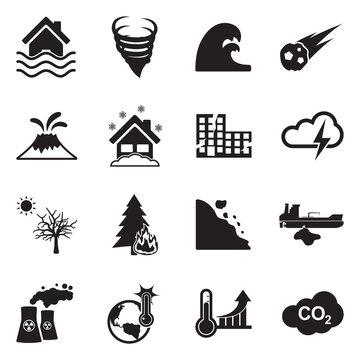 Natural Disaster Icons. Black Flat Design. Vector Illustration.