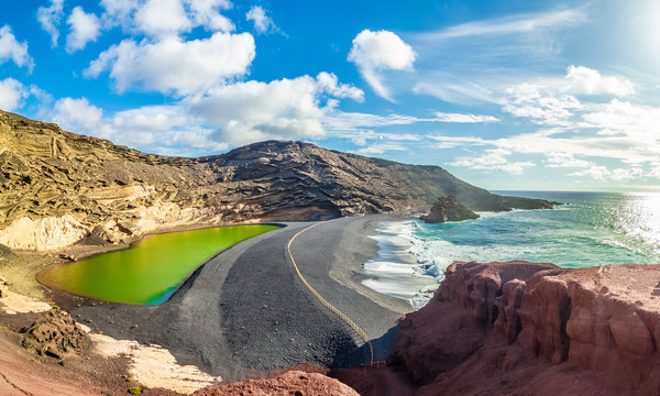 Landscape with unique Lago Verde and black sands at El Golfo beach, Lanzarote, Canary islands, Spain