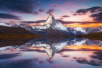 Matterhorn peak reflected in Stellisee Lake in Zermatt, Switzerland.