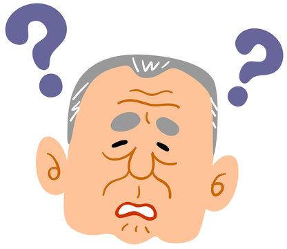 認知症の老人の顔 男性