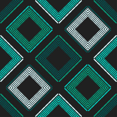 Foto op Canvas Boho Stijl Ethnic boho seamless pattern. Lace. Embroidery on fabric. Patchwork texture. Weaving. Traditional ornament. Tribal pattern. Folk motif. Vector illustration for web design or print.