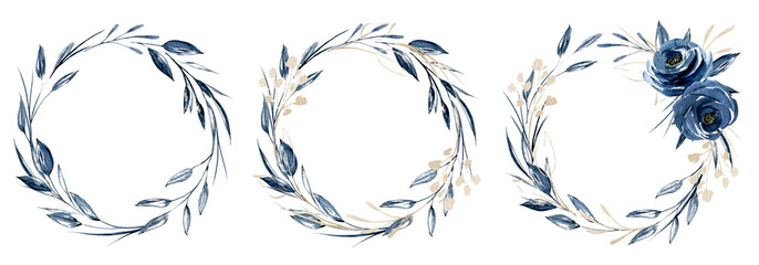 Wreaths with watercolor blue flowers and gold leaf, floral set. Botanical clip art roses perfectly for printing design on invitations, cards and other. Isolated on white background. Hand painting.