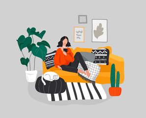 Girl girl sitting and resting on the couch with a cat and coffee. Daily life and everyday routine scene by young woman in scandinavian style cozy interior with homeplants. Cartoon vector