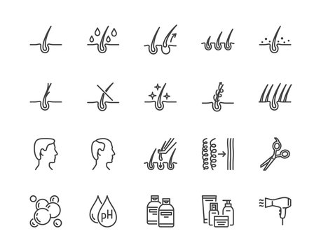 Hair loss treatment flat line icons set. Shampoo ph, dandruff, hair growth, keratin, conditioner bottle vector illustrations. Outline signs for beauty store. Pixel perfect 64x64. Editable Strokes