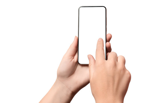 Hand girl holding a modern smartphone with a blank screen. Isolated on white background.