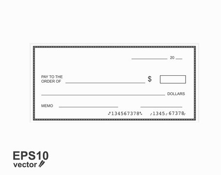 Blank template of the bank check.