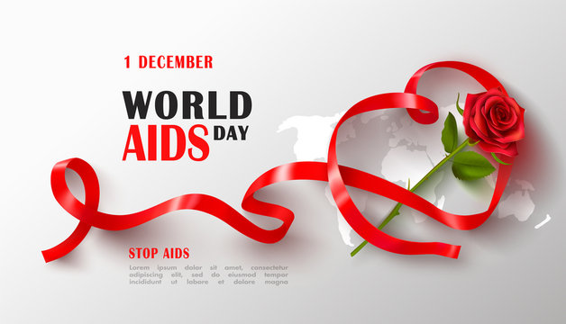 World AIDS day banner with red ribbon.Stop Aids. Awareness.Vector illustration