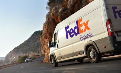 Kas / Turkey - 10.08.18: Delivery van of FedEx