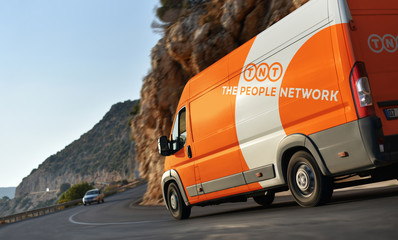Kas / Turkey - 10.08.18: Delivery van of TNT Express