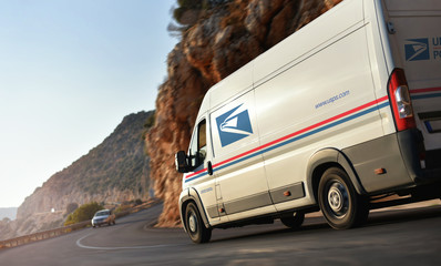 Kas / Turkey - 10.08.18: Delivery van of United States Postal Service (USPS)