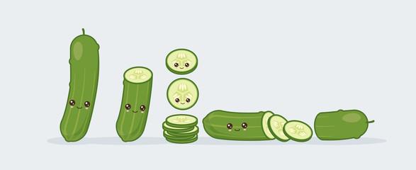 Set cucumber. Cute kawaii smiling food. Vector