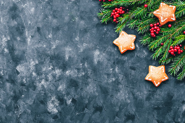 Christmas and New Year background with winter berries, ginger cookies in the form of a star and fir branches in a dark style. Copy space and top view.
