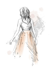 fashion illustration. Girl in a romantic dress, pencil sketch