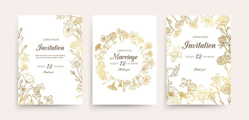 Wedding invitation cards. Floral wedding flyers with wildflowers. Hand drawn gold flowers vintage invitations template. Wedding invitation card, illustration botanical flyer