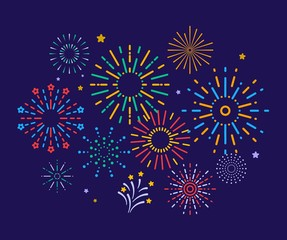 Colorful fireworks. Festive christmas pyrotechnics firecrackers. Xmas winter party festival salutes vector background. Illustration colorful firecracker to christmas carnival, sparkle festival
