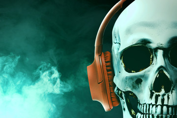 Human skull with headphone